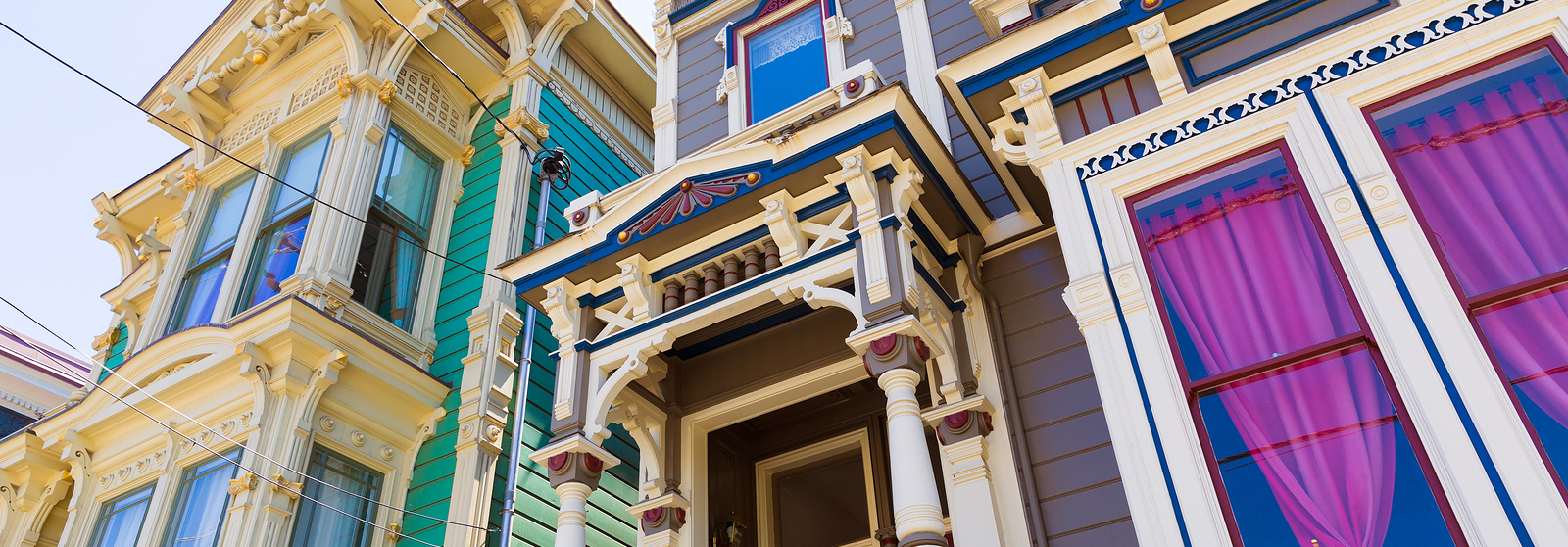 San Francisco Victorian houses in Pacific Heights of California